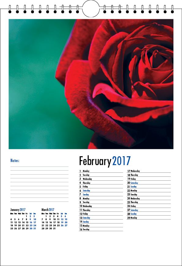 Picture of 001 - Test Spiral Calendar Product