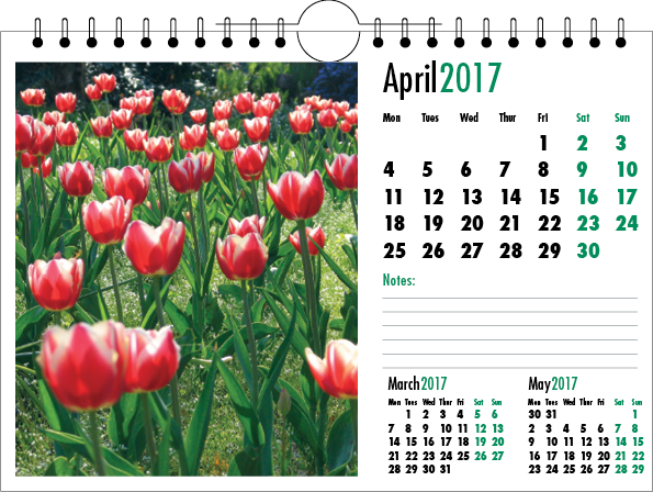 Picture of Spiral Calendar L01 Green